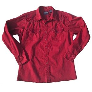 wrangler embroidered pearl snap button down
